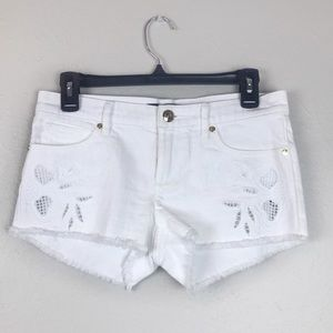 Juicy Couture White Embroidered Denim Shorts